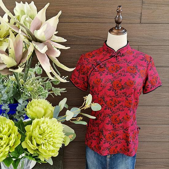 Vintage Claret Roses Cheongsam Blouse