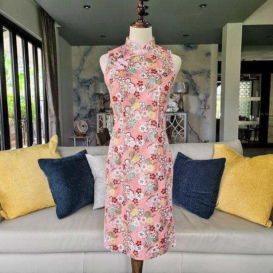 Peach Sakura Cheongsam Dress