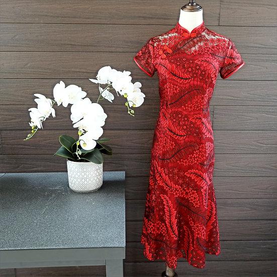 Abundance Ruby Jardin French Lace Cheongsam Dress