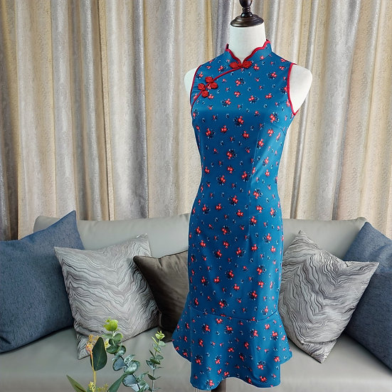 Poppy Florets Bleue Cheongsam Dress