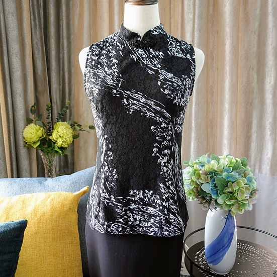 Midnight Snow Floral Lace Cheongsam Blouse