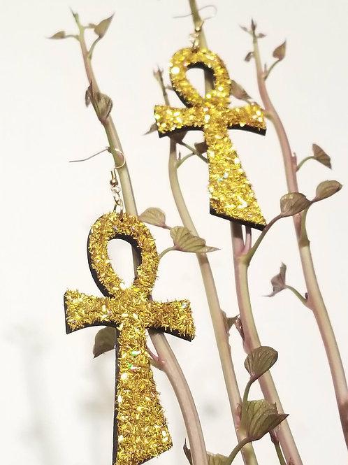 Golden Glittered Ankh