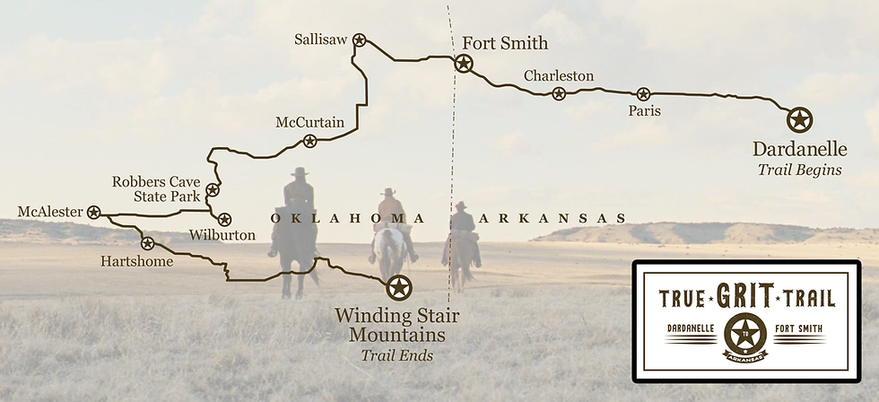 Map of the True Grit Trail—Arkansas and Oklahoma