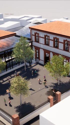 Vue aérienne de la cour intérieure de l'école