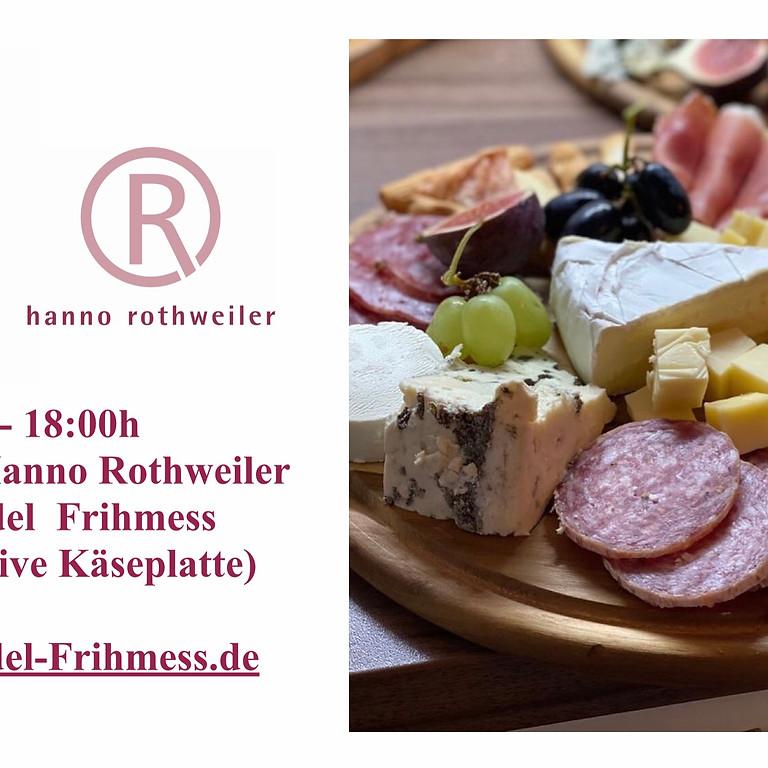 Weinprobe Hanno Rothweiler mit Käseplatte im Weinhandel Frihmess