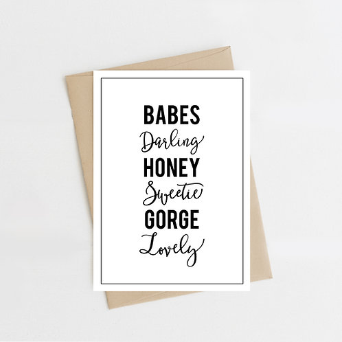 Terms of Endearment, Greeting Card