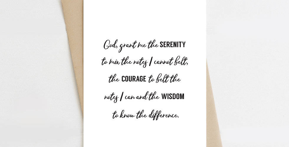 Grant Me The Serenity, Greeting Card
