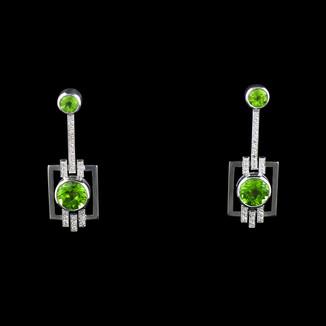 Peridot Art Deco inspired custom designed handmade earrings.