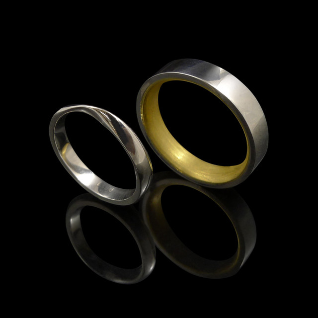 Handmade wedding rings.   18ct yellow gold and platinum handmade wedding ring.  18ct white gold handmade wedding ring.