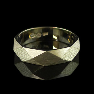 Handmade Wedding Ring with Geometric Facets
