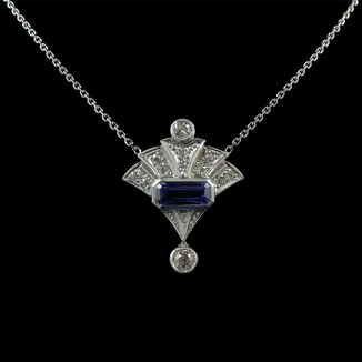 18ct White gold and sapphire, Art Deco inspired pendant.