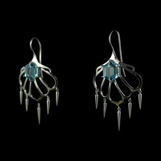 Handmade earrings in 9ct white gold with hexagonal blue topaz.