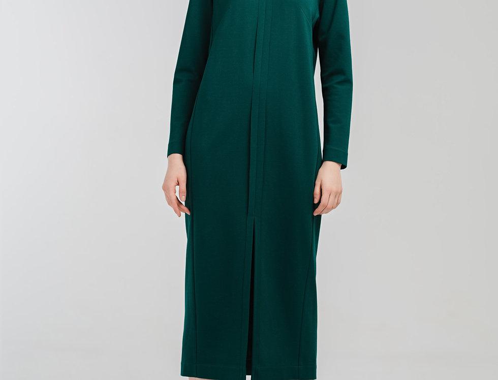 Прямое платье с разрезом из джерси