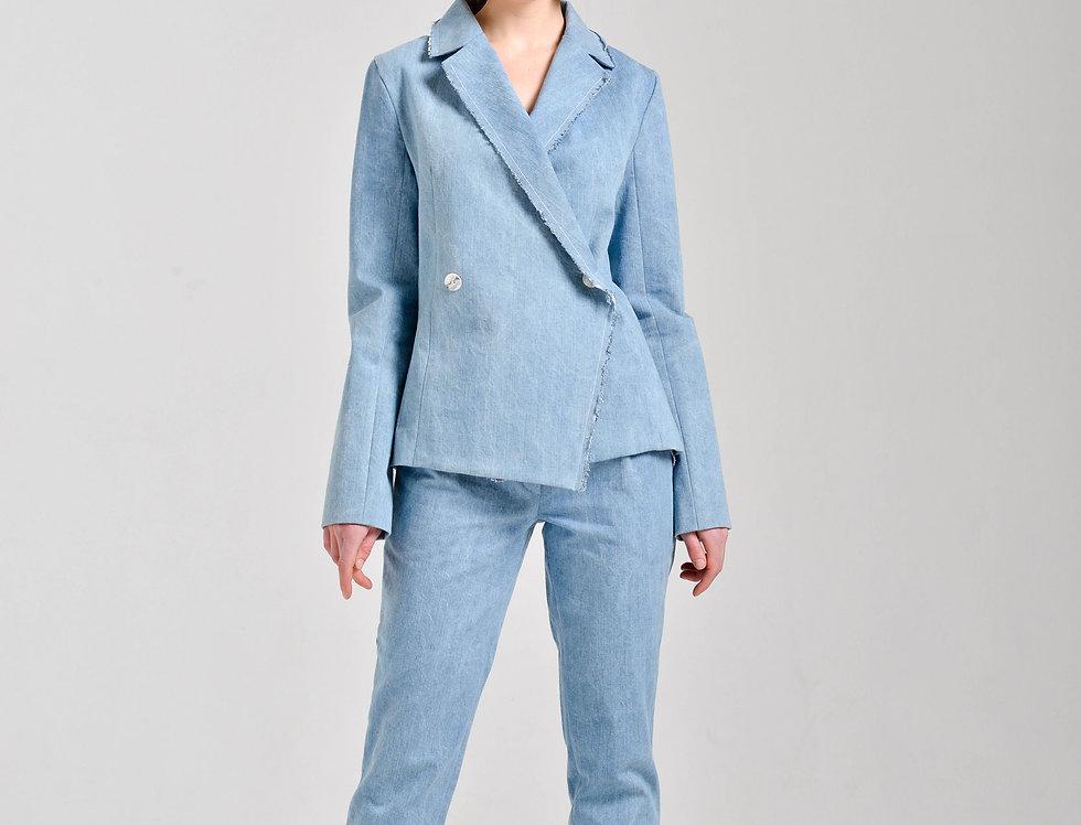 Жакет двубортный из джинсы