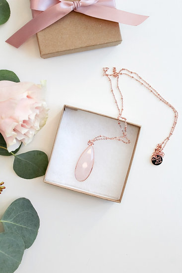 Raindrop Rose Quartz Necklace