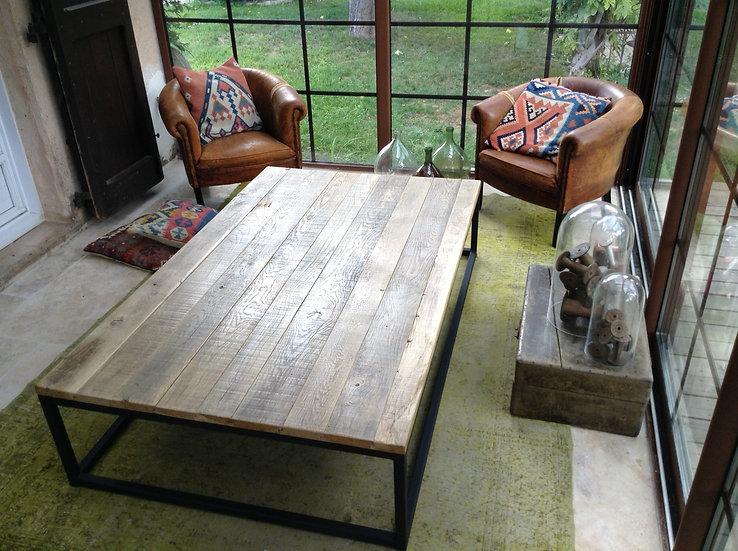 Table basse rectangulaire métal et chêne