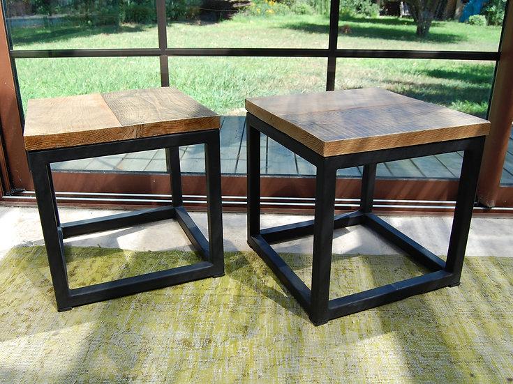 Lot de 2 Table de nuit métal et chêne
