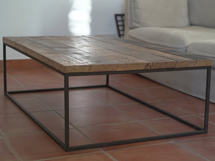 Table basse rectangle métal plein et chêne