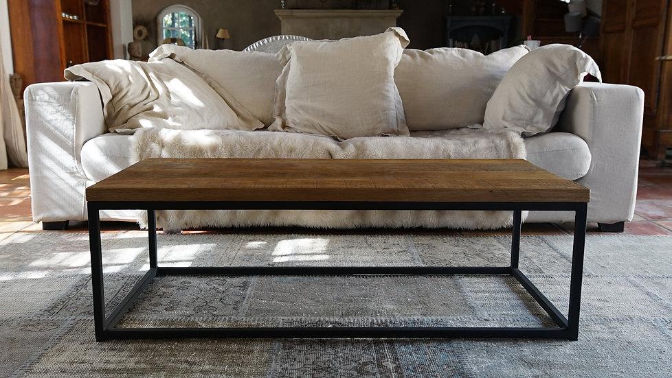 Table basse rectangle métal et chêne