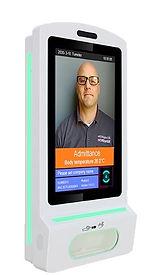 Digital signage kiosk with thermal temperature scanner and hand sanitizer dispenser