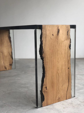 Oak with resin table