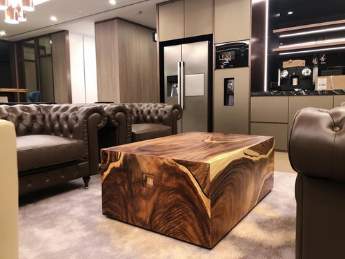 Walnut coffee table with resin