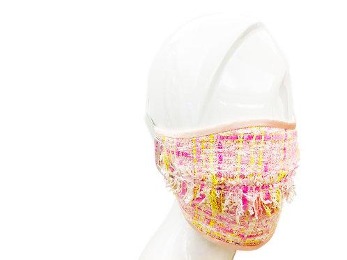 CARAS Signature Fringed Tweed Face Mask