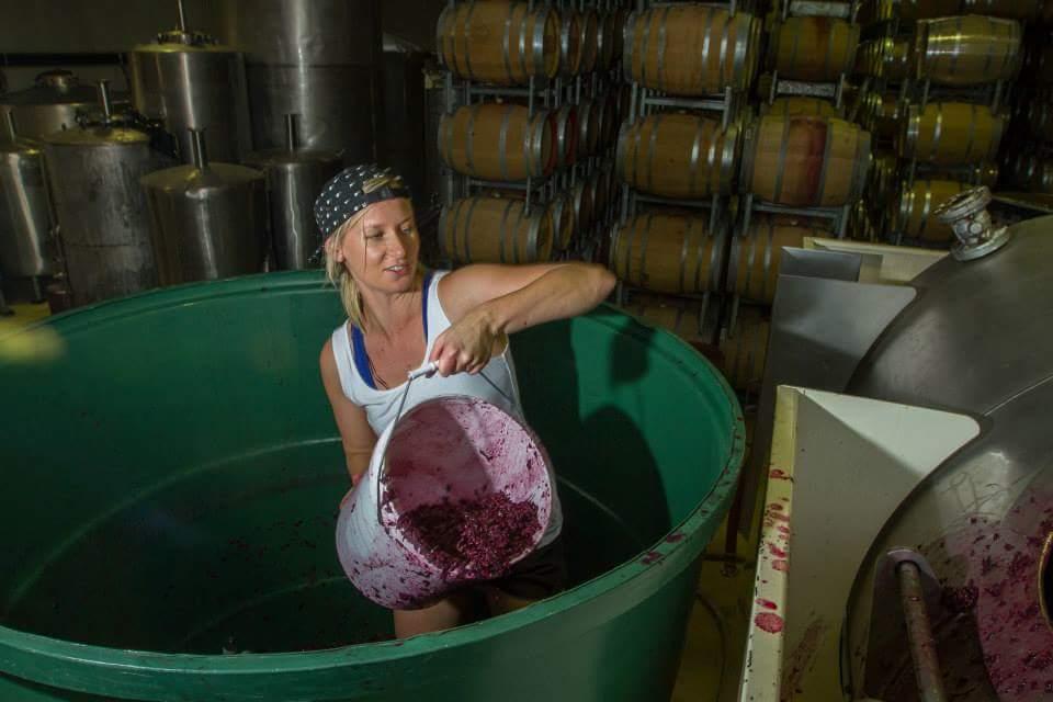 Renée digging out the ferment