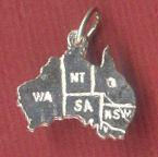 outline mao and states of Australia silver charm