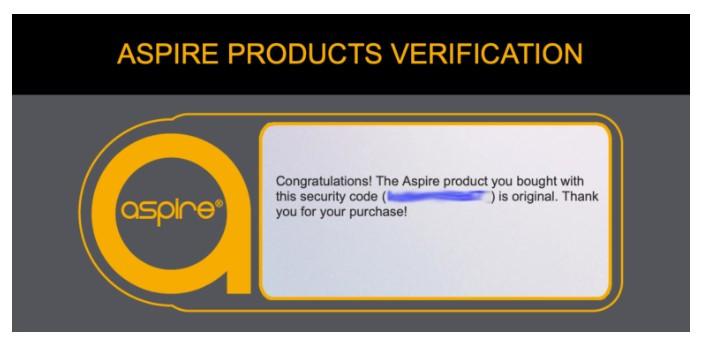 Aspire Product Verification Success