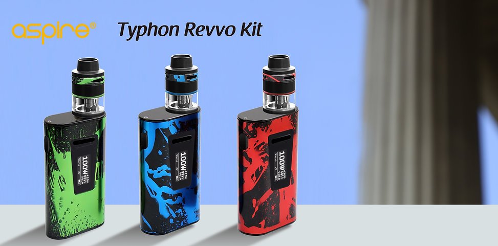 Aspire Typhon 100 Revvo Kit A brand new kit, combining the imaginative, innovative Revvo tank, and the Typhon 100 mod. The Revvo tank with an all new coil design, the ARC, Aspire Radial Coil,