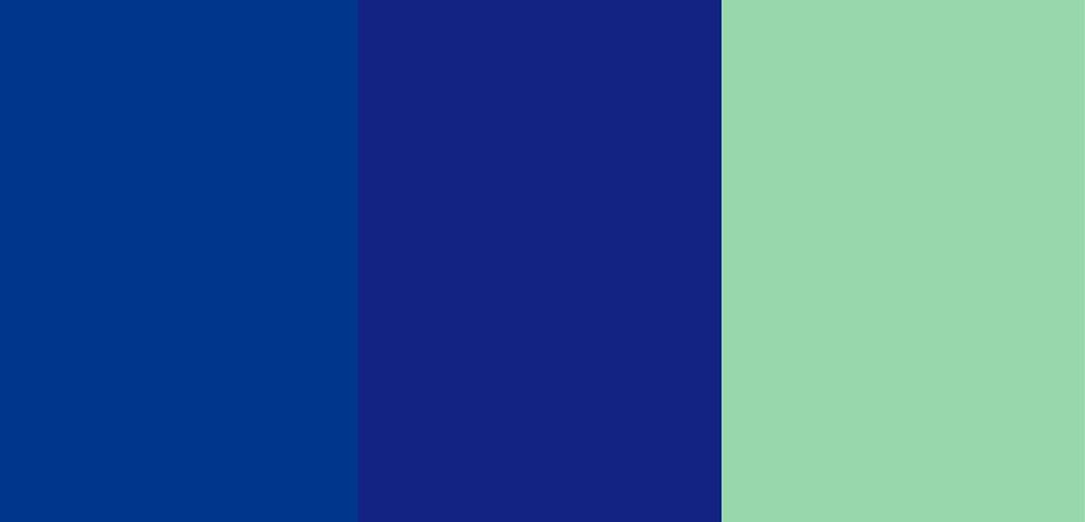 As cores e tonalidades azul índigo, azul royal e verde menta