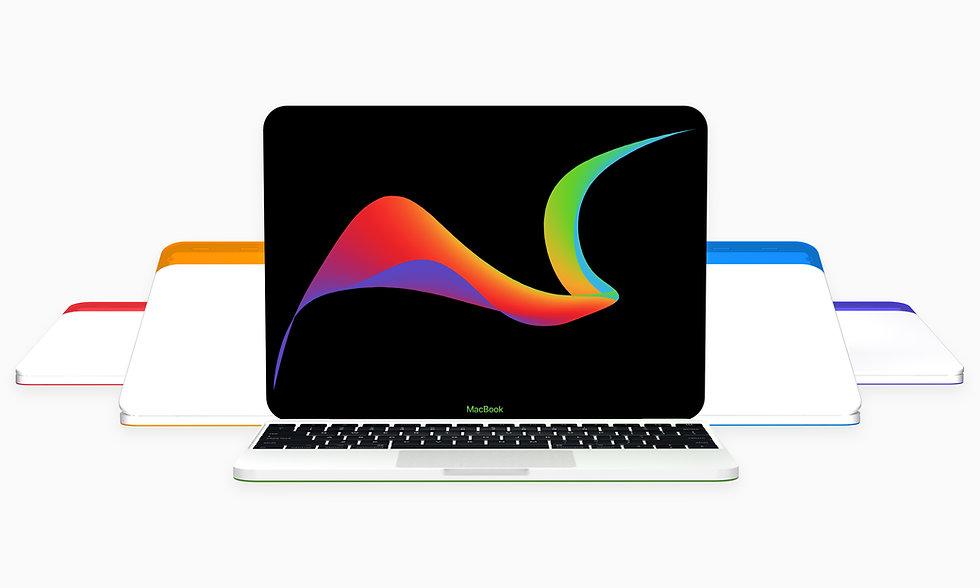 Apple MacBook colorful translucent iBook G3 redesign concept colors bondi blue