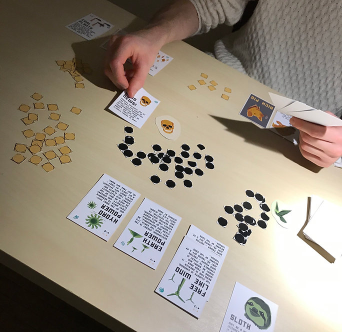 Eat The Rich card game board game environmental climate anxiety eco design indie game developer play based on research oil industry vs activists gamify problem green design