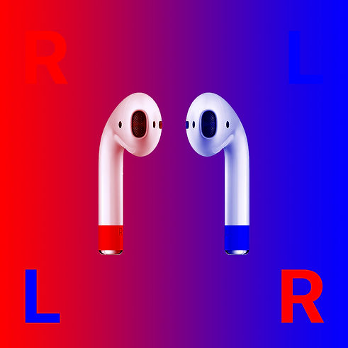AirPods red blue