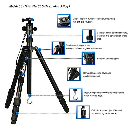 FotoPro MGA-684 Tripod (with FPH-62Q Ball Head)