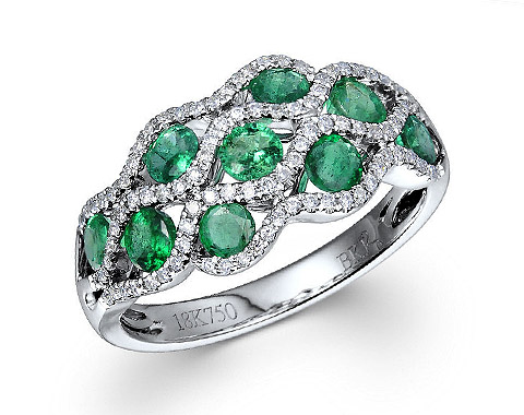 18k white gold 1.03ct TW oval shape emerald swirt ring EMR26069-7