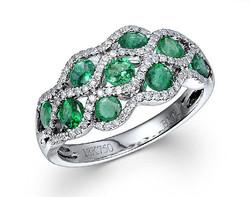 18k white gold 1.03ct TW oval shape emerald swirt ring EMR26069-7