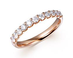 18k rose gold 0.50ct U prong set comfort fit premium wedding band DDR01262-6
