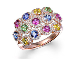 14k rose gold 1.60ct TW multi-color round shape sapphire ring CLR26282-2
