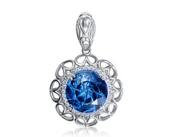 14k white gold 12mm round shape blue topaz firework pendant BTP26534-3