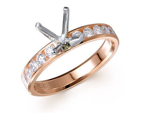 14k rose gold 0.46ct channel set diamond edge engagement ring DMR01191-2