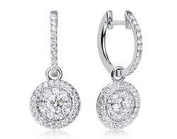 18k white gold 2.00ct OL Lady Dream + 116DD0.64ct diamond earrings