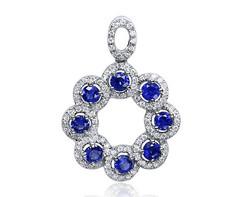 14k white gold 0.70ct round shape blue sapphire pendant SSP26482-3