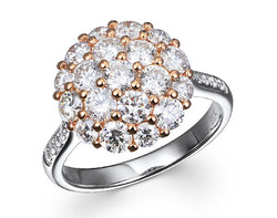 18k WR gold 2.0ct total weight cluster set diamond ring DDR27202-9