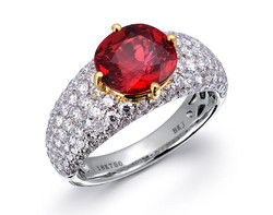 18k gold two tone 3.02ct oval shape ruby ring RRR00376-7
