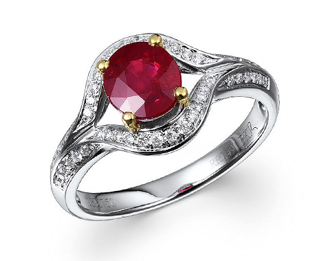 18k two tone 1.49ct oval shape ruby ring RRR26721-9