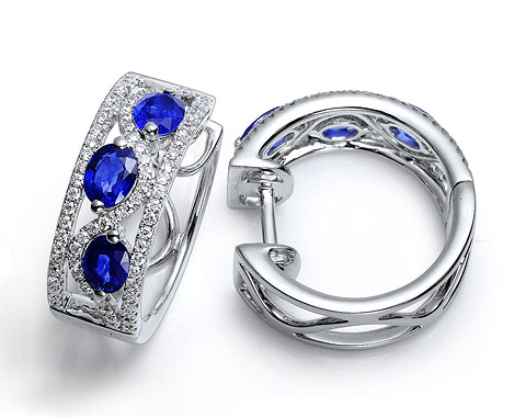 14k white gold 1.34ct TW oval shape blue sapphire huggie earrings SSE26035-3