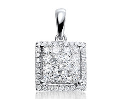 18k white gold 1.50ct OL square shape Lady Dream +32DD0.10ct diamond pendant