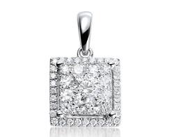 18k white gold 1.50ct OL square shape Lady Dream +32DD0.10ct diamond pendant
